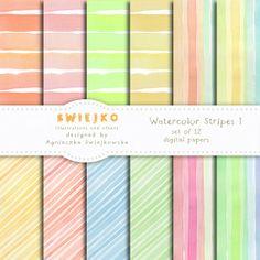 Watercolor Digital Paper, Watercolor Stripes I, Set of 12 Handpainted Digital Papers (29) on Etsy, $5.00