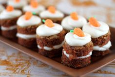 Gotta have carrot cakes! I really like the idea of doing mini-cakes instead of cupcakes, and it looks so simple to do.