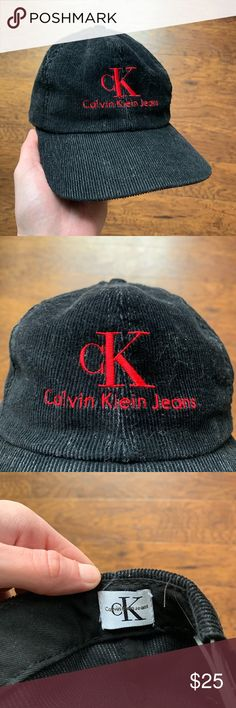 Vintage 90 s Calvin Klein Jeans Corduroy SnapBack Black Red Good Condition  Made in the USA Corduroy Check my other listings! I have different vintage  1980s ... 9ac1a7c33973