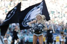 A Philadelphia Eagles cheerleader performs during the first half of an NFL football game against the Pittsburgh Steelers, Sunday, Sept. 25, 2016, in Philadelphia. (AP Photo/Michael Perez) Photo: Associated Press / FR168006 AP