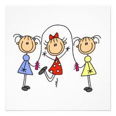 beach girl stick figure | Stick Figure Family Invitations, 40 Stick Figure Family Announcements ...