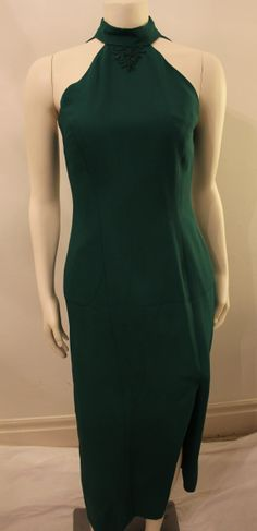 Vintage Emerald Green Evening Dress with by GeorgetteEtJosephine, $35.00 Emerald Green Evening Dress, Evening Dresses, High Neck Dress, Neckline, Trending Outfits, Unique Jewelry, Vintage, Fashion, Evening Gowns Dresses