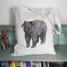 The Bear Illustration Eco Tote Bag ~ 100% Cotton Long Handles