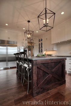 Veranda Interiors - kitchens - Madeleine Armless Counter Stool, white cabinets, white cabinetry, white kitchen cabinets, white kitchen cabin...