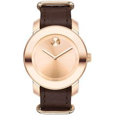 Movado Bold Rose Gold Tone Dial Brown Leather Unisex Watch ($385) ❤ liked on Polyvore featuring jewelry, watches, brown leather wrist watch, buckle watches, analog wrist watch, brown wrist watch and unisex watches