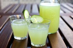 Cucumber Lemonade: 1 pound cucumber(s)  +  1 cup lemon juice + 1/3 cup granulated sugar + 2 cups cold water