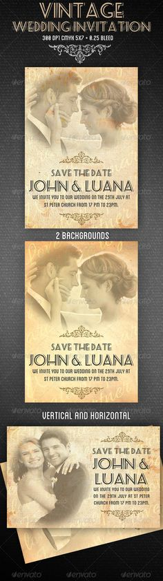 Vintage Wedding Invitation #GraphicRiver Vintage Wedding Invitation 5×7+ 0.25 bleed 300 Dpi Free Fonts 2 backgrounds and sizes,vertical and horizontal. Very organized layers Easy to replace images Print ready CMYK Color Profile Fonts information in the help file. Images not included Created: 12April13 GraphicsFilesIncluded: PhotoshopPSD Layered: Yes MinimumAdobeCSVersion: CS PrintDimensions: 5.25x7.25 Tags: bride #grunge #invitation #marriage #newlyweds #oldstyle #retro #vintage…