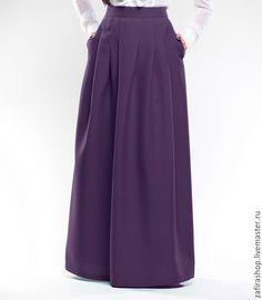 """Купить Теплая юбка """"Мирабель"""" - темно-фиолетовый, однотонный, юбка макси, юбка в пол"""
