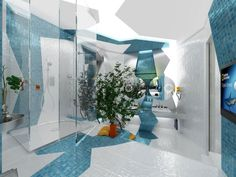 Bathroom Powder Room Home Decorating Designs Designer Bathrooms Interior Rooms Space Art House Ideas Bathroom Design With Painting Line Blue Color Winding And Has A Glass Covered Shower Fascinating Awesome Bathroom Design is Filled with Art