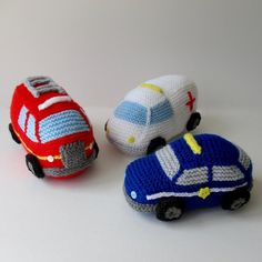 Knit a trio of emergency vehicles: a fire engine, ambulance and police car.THE PATTERN INCLUDES: Row numbers for each step so you don't lose your place, instructions for making the fire engine, ambulance and police car, 18 photos, a list of abbreviations and explanation of some techniques, a materials list and recommended yarns.TECHNIQUES: All pieces are knitted flat on straight knitting needles, apart from the light bars (on top of the vehicles) and ladder which are i-cord knitted on two…