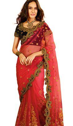 Red Sari, Pink Saree, Saree Sale, Net Saree, Georgette Sarees, Antique Jewellery Online, Indian Sarees Online, Imitation Jewelry, Party Wear Sarees