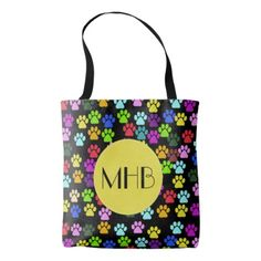 Monogram - Dog Paws Traces - Red Blue Green Tote Bag - pattern sample design template diy cyo customize