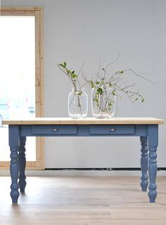 Now Sold/Rustic Farmhouse Kitchen Table, Dining Table, Kitchen Table, Large  Pine Table, Handpainted In Blue Grey, Old Pine Table With Chairs