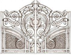 puertas de hierro forjado. Comprar una puerta de hierro forjado en Minsk Grill Gate Design, House Main Gates Design, Steel Gate Design, Door Gate Design, Metal Gates, Wrought Iron Doors, Marble Fireplace Mantel, Custom Gates, Iron Art