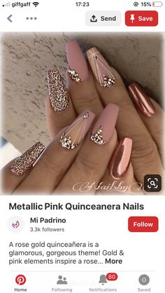 A rose gold quinceañera is a glamorous, gorgeous theme! Gold & pink elements inspire a rose gold quince. Our rose gold inspirational pictures can help you! Gold Nail Designs, Almond Nails Designs, Pedicure Designs, Sugar Nails, Bride Nails, Nails 2018, Rose Gold Nails, Pretty Nail Art, Nail Polish Colors
