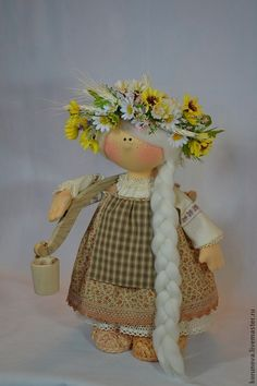 Варвара - бежевый,коричневый цвет,интерьерная кукла,авторская ручная работа