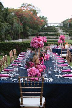 Fuschia and Navy Wedding Decor - @Victoria Brown Rix The colors are so pretty together!
