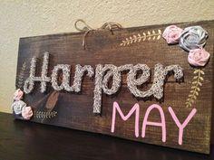 Nail Art Wood Sign Girl Name Nursery by BrittonCustomDesigns