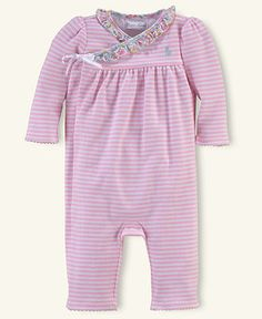 Ralph Lauren Baby Coverall, Baby Girls Interlock Striped Coverall - Kids Newborn Shop - Macy's