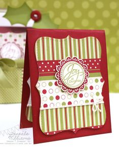 Teneale Williams Christmas card using Stampin' Up Jolly Holiday DSP.  It could also be a great gift tag.