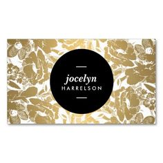 Modern Gold Flowers Customizable Business Card Template for Interior Designers, Decorators, Stylists, Salons, Beauty Professionals, Style Bloggers, Fashion Designers and more. I love this design! Easy to personalize - just update the info on the front and back with your own. Unique and eye-catching - printed on high quality card stock.