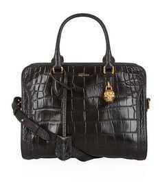 Alexander McQueen Croc Print Small Padlock Zip-Around Bag #bag #alexandermcqueen #designer #covetme