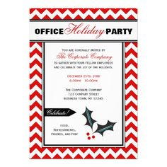 Red Chevron Office Holiday Party Invitations