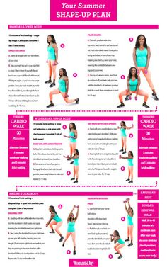 Summer Workout Plan Week 1: This routine combines strengthening moves with calorie-burning cardio and heart-pumping interval walks. Tone your abs, legs, arms, and entire body with this simple exercise plan. Click through for all the information.