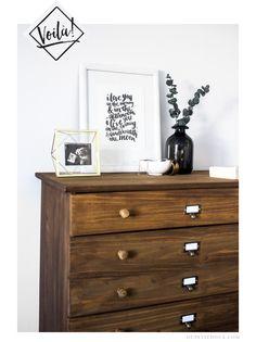 ikea hack tarva furniture tutorial diy apothecary westelm anthropologie dupetitdoux meuble commode repurpose artisanat tutoriel step-by-step