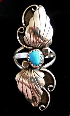 Turquoise Sterling Silver Ring Sleeping Beauty by RenaissanceFair #sterling #ring #turquoise #sleepingbeauty #southwest #long
