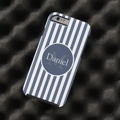 Masculine Blue Striped Personalized Monogrammed iPhone 6 case from #Ricaso