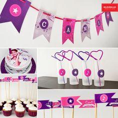 """Cumple """"estrella pop"""". Invitaciones / guirnalda / stickers / banderitas con pinche para decorar cupcakes. Todo de milburbujas.com.ar"""