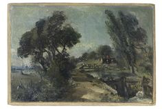 John Constable, Flatford Lock on the Stour looking towards Bridge Cottage