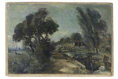 John Constable, Flatford Lock on the Stour looking towards Bridge Cottage