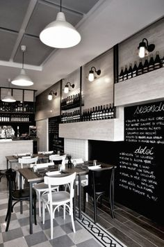 La cucineria detail on the floor and tone on tone of black,white and greys