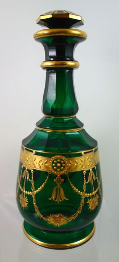 Vintage Bohemian green faceted glass enamelled and gilt scent bottle attrib. to Harrach, 1880s