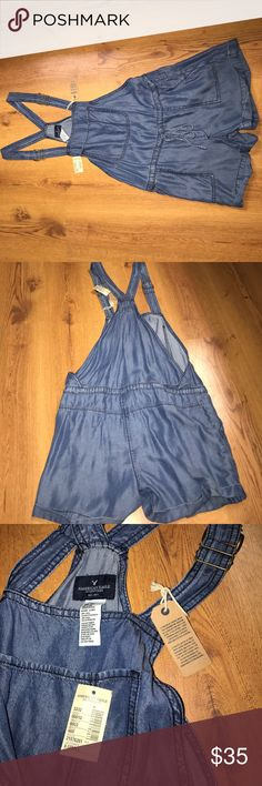 American Eagle Blue Jean Romper XS This is a super cute blue jean romper I just never had anywheres to wear it to! It's an XS but fits me (5'1, 120 lbs) like a Small! American Eagle Outfitters Other