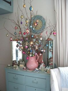 Blue (and pink) Christmas - love the idea of using a vintage water pitcher! Noel Christmas, Winter Christmas, All Things Christmas, Christmas Branches, Christmas Colors, Christmas Vignette, Christmas Mantles, Christmas Lanterns, Victorian Christmas