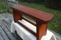 Reclaimed Wine Board Bench: Silky smooth handmade dove-tailed sitting bench made from turn-of-the-century reclaimed red wine board. All wood, no nails. Beautifully hand-crafted by Western New York craftsman. $500