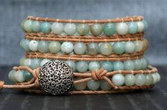 wrap bracelet- amazonite on natural leather- semi precious 5 wrap blue aqua - boho bohemian beach yoga southwest western