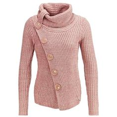 Chic Turtleneck Long Sleeve Button Design Knitted Women's Jacket (PINK,S) in Jackets & Coats | DressLily.com