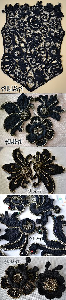 Black and silver blouse Col Crochet, Russian Crochet, Crochet Motifs, Freeform Crochet, Crochet Chart, Irish Crochet Tutorial, Irish Crochet Patterns, Crochet Designs, Point Lace