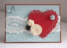 Heart-card using SU Artisan Kit, Delicate designs embossing folder, Bitty Butterfly punch