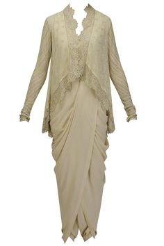 Ivory embroidered high low jacket kurta with copper dhoti pants available only at Pernia's Pop Up Shop.