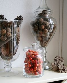 Fall mantel decoration pinecones glass jars- plenty of cones around your house. Pine Cone Decorations, Fall Mantel Decorations, Decoration Table, Mantels Decor, Mantles, Wedding Decorations, Apothecary Jars Decor, Jar Fillers, Decorated Jars