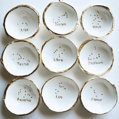 """We are so excited about these dishes! Hand stamped with your zodiac sign and your corresponding constellation above it! • Approximately 3"""" diameter • This is not a ceramic item. It is light and can be slightly pliable. This means that it is much harder to break and should not shatter if dropped. • Please note that each dish is molded, stamped, painted and sealed in our studio. This is a delicate hand-crafted process, and each dish will be different. • Follow us on social media: • instagram…"""
