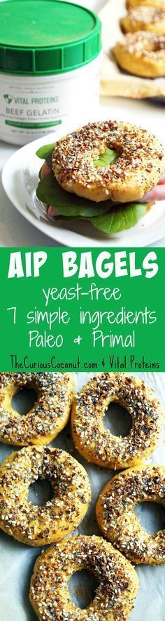#AIP Bagel with Vital Proteins Gelatin - with 7 simple ingredients these are a breeze to make and a real treat on the autoimmune paleo protocol! // TheCuriousCoconut.com