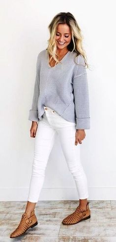 #Summer #Outfits / Gray V Neck Sweater + White Pants