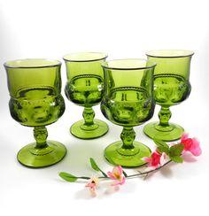 Indiana Glass Kings Crown Glasses Thumbprint by OldVintageGoodies, $24.00