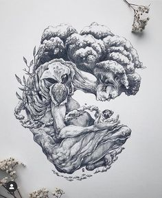 """My elemental is finally finished. I call them """"The Creator"""" because they manifest the universe in the constant flux between life and death. Illustration Pen And Ink, Black And White Illustration, Tattoo Drawings, Cute Drawings, Natur Tattoos, Mother Nature Tattoos, Tattoo Zeichnungen, Nature Drawing, Pen Art"""